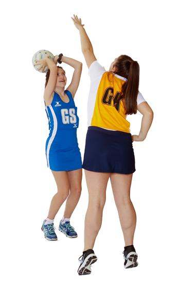 Two girls playing Netball (Goal Shooter and Goal Keeper)