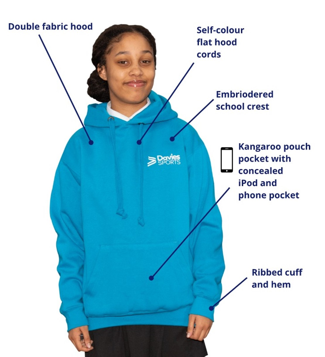 Leavers Hoodie front features
