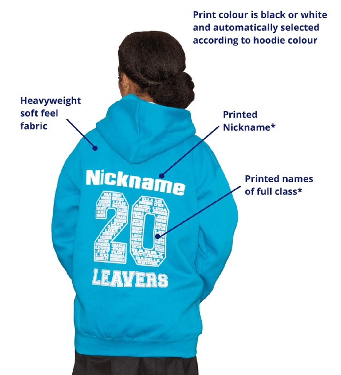 Leavers Hoodie Back Features